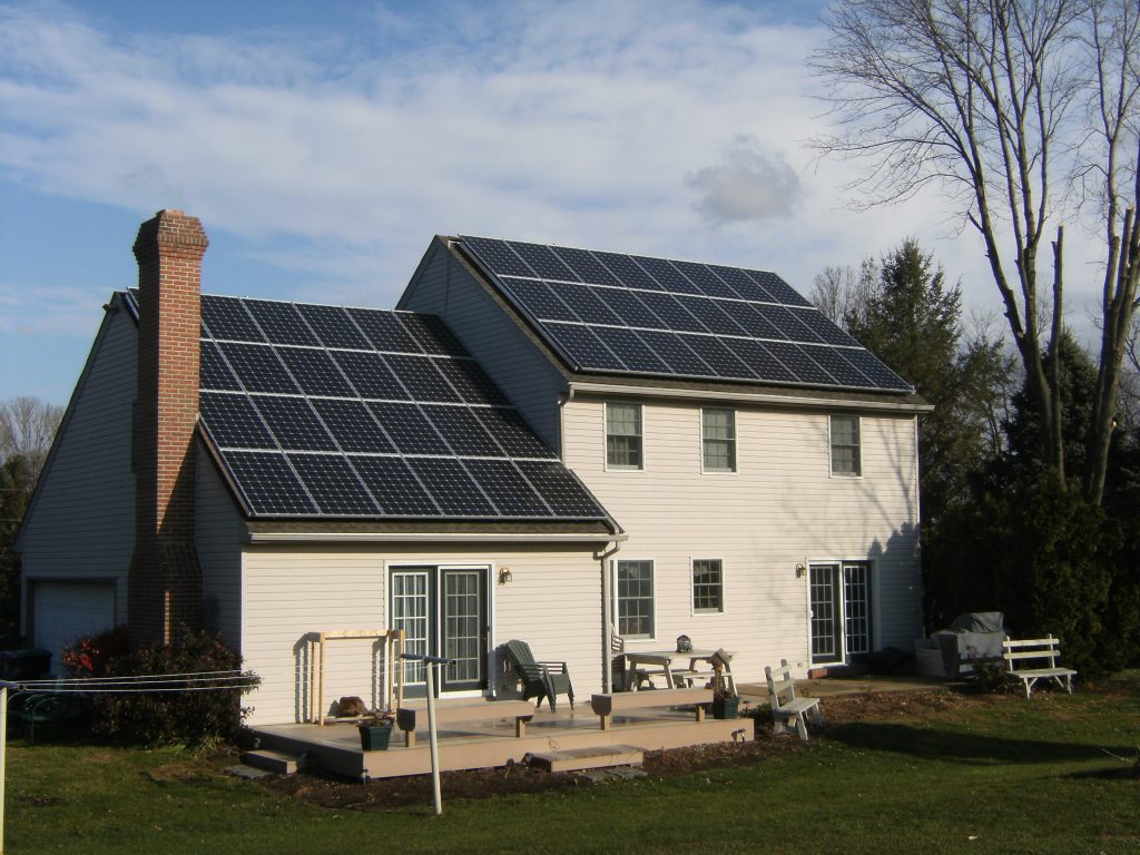 residential solar panel installation on house in strasburg
